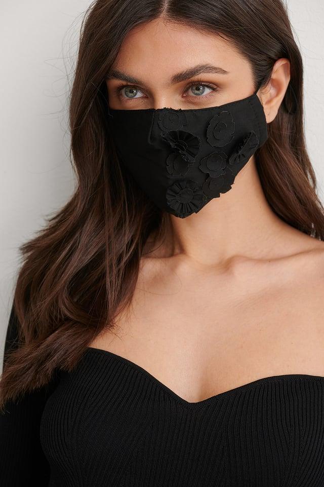 Black Flower Applique Face Mask