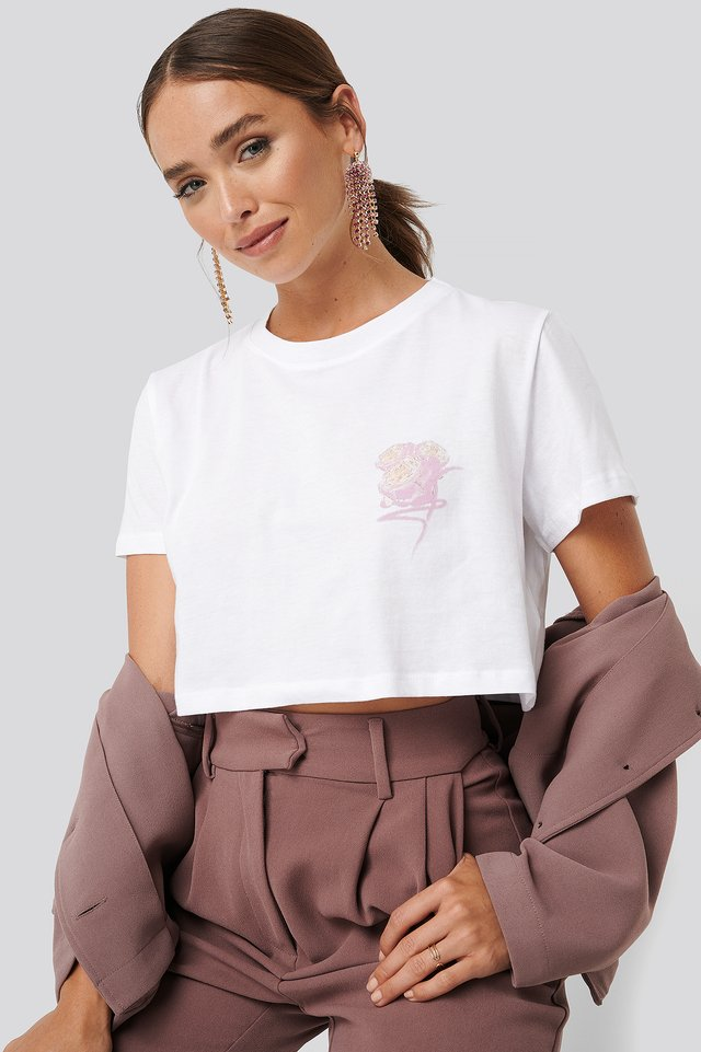 Flower Cropped Tee White