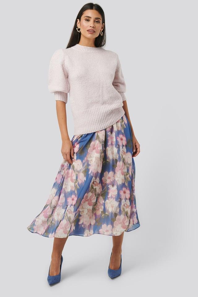 Flowy Chiffon Skirt Blue Flower