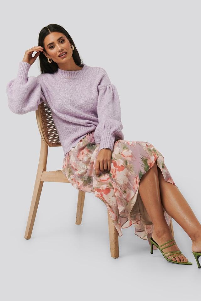 Flowy Chiffon Skirt Pink Flower