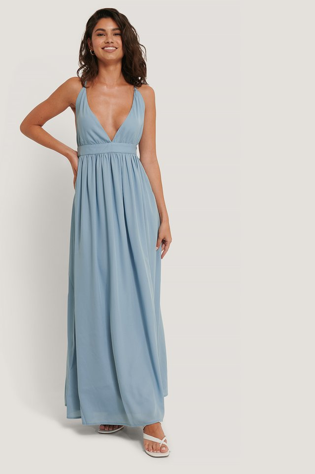 Flowy Strap Dress Dusty Blue