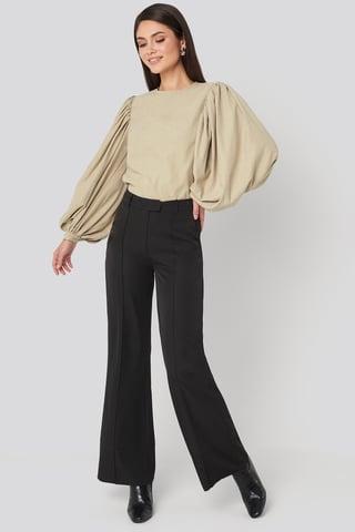 Black Fold Up Flared Pants