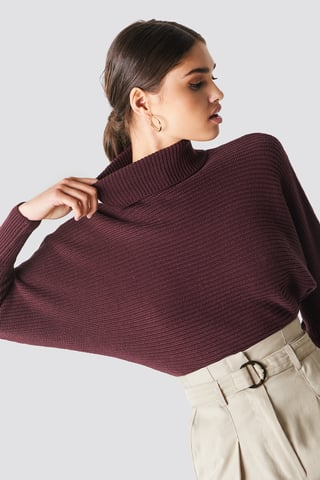 Burgundy Folded Knitted Sweater