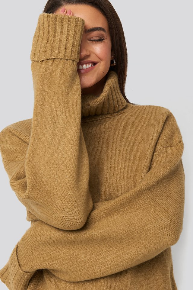 Light Beige Folded Sleeve Oversize Sweater
