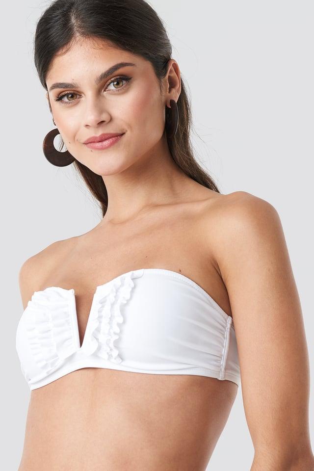 White Frill Deep V Bandeau Bikini