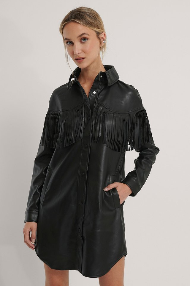 Robe Mini Faux Cuir Black