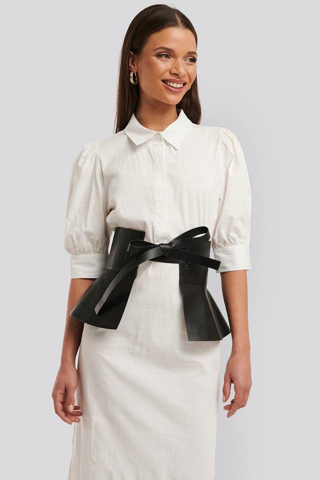Black Frill Detail Waist Belt