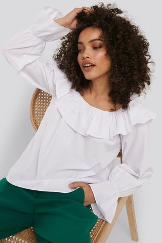 Optical White Frilled Wide Neck Blouse