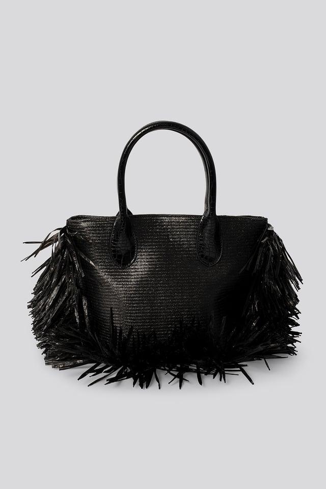 Black Fringe Beach Bag
