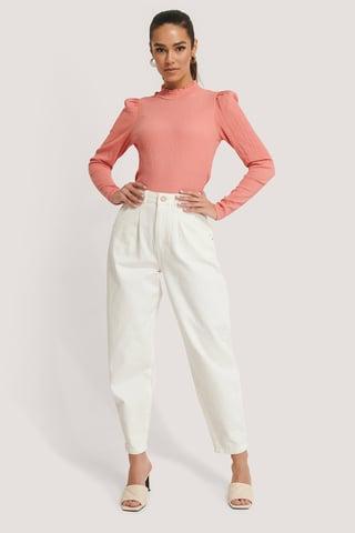 Beige Front Dart Slouchy Jeans