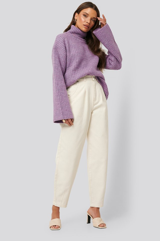 Front Dart Slouchy Jeans Eggshell