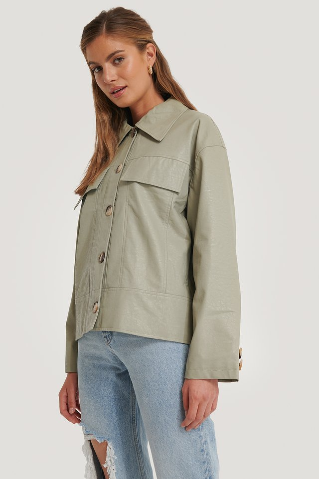 Pastel Green Front Pocket Pu Jacket