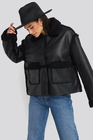 Black Front Pocket Teddy Jacket