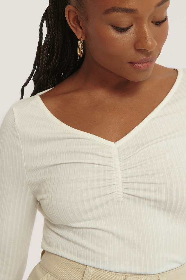 Front Ruched Ribbed Top Offwhite