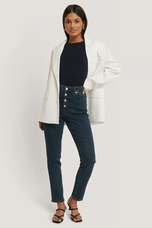 Dark Denim Jean Taille Haute À Couture Avant