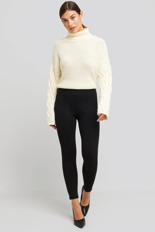 Front Seam Jersey Pants Black