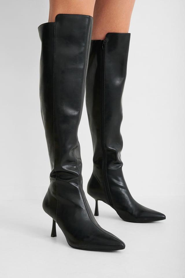Black Bottes Hautes Moulantes À Couture Avant