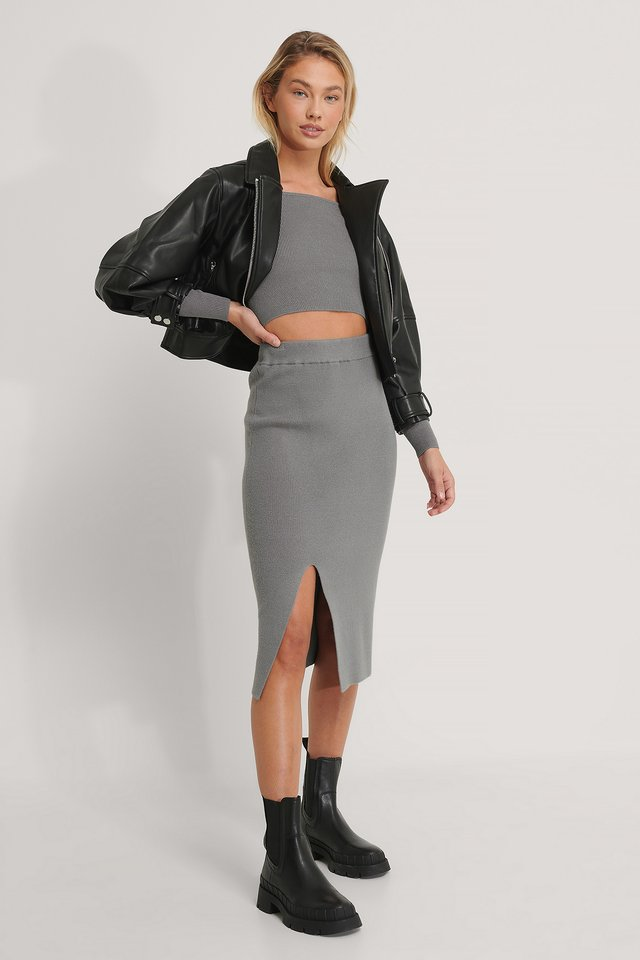 Jupe Mi-Longue En Tricot Grey
