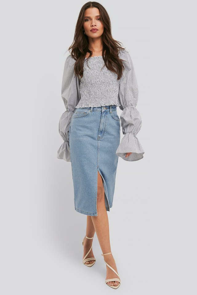 Front Split Midi Denim Skirt Light Blue Wash