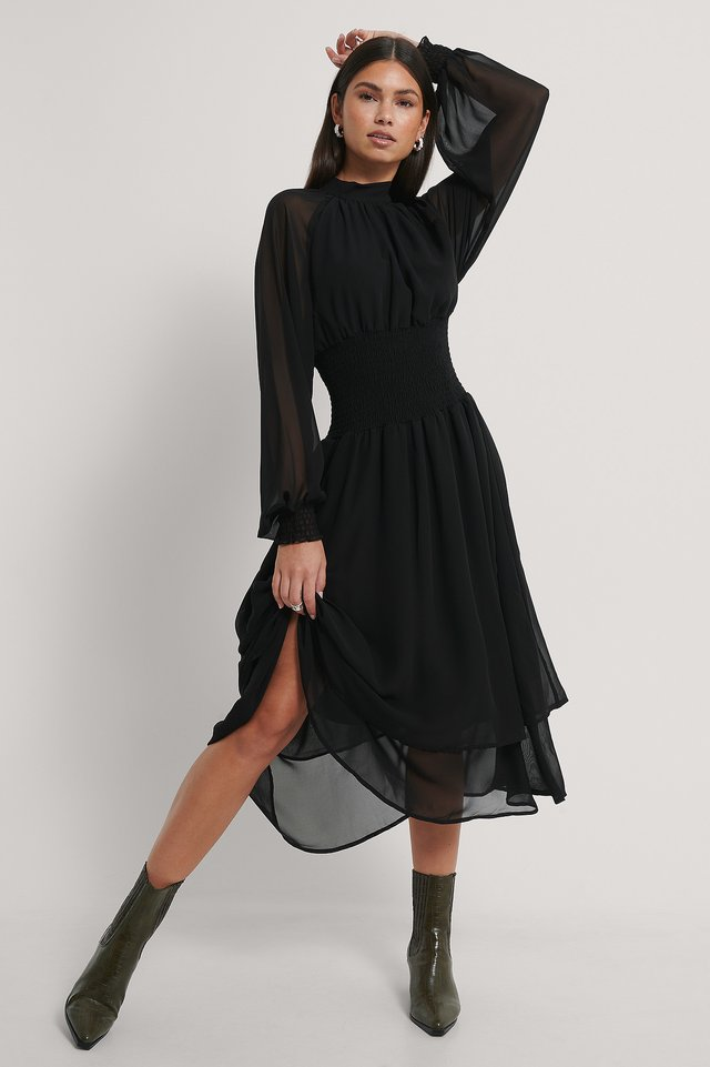 Smocked Waist Midi Dress Black