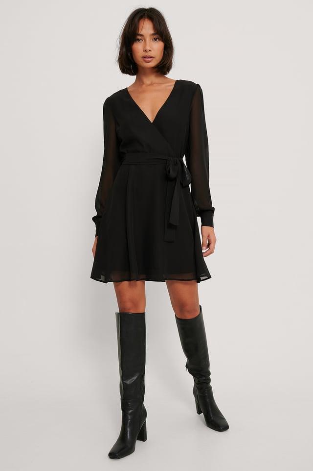 Robe Portefeuille En Mousseline Black