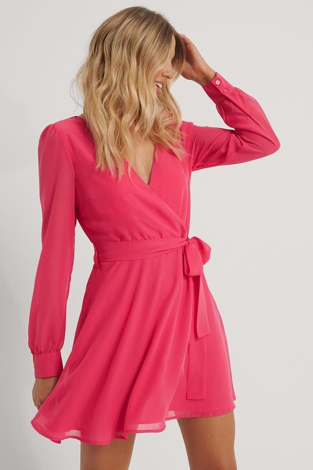 Robe Portefeuille En Mousseline Pink