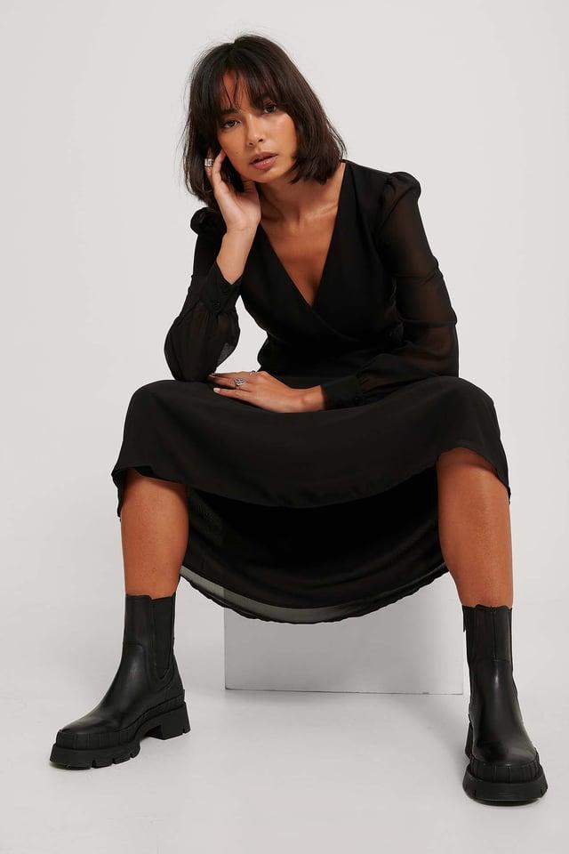 Black Robe Portefeuille Mi-Longue En Mousseline