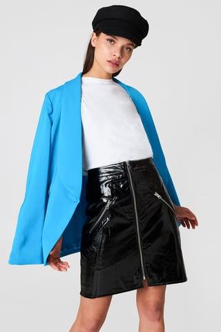 Black Front Zip Patent Skirt