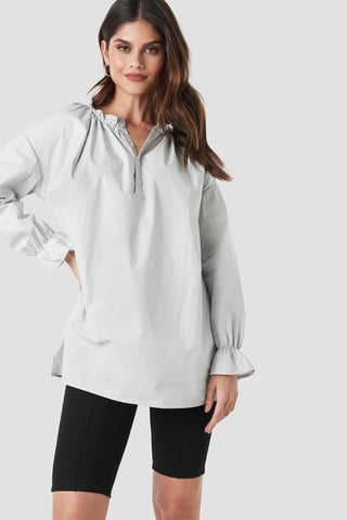 Light Grey Gathered Neckline Tunic