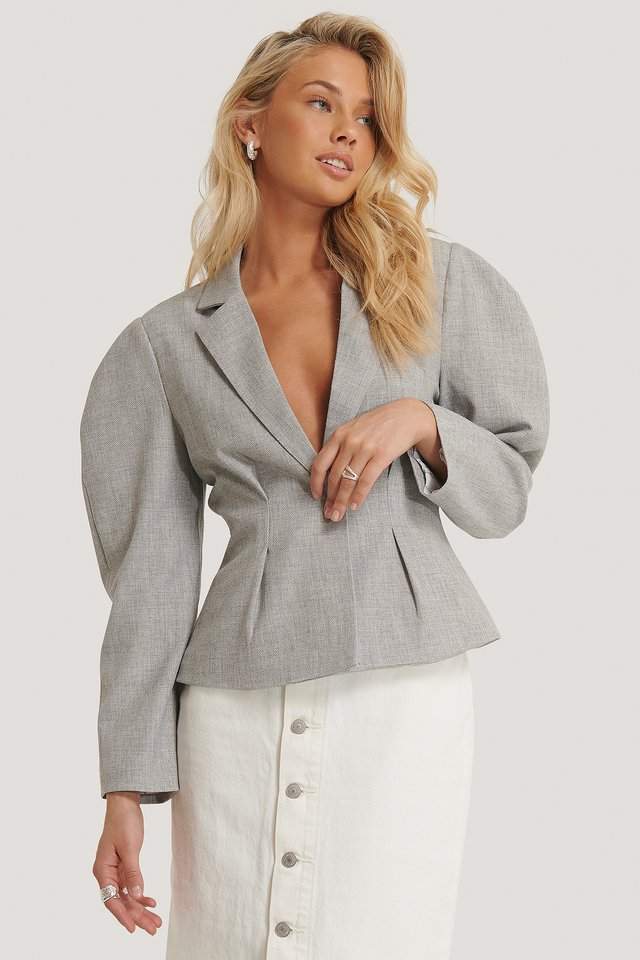 Grey Gathered Short Blazer