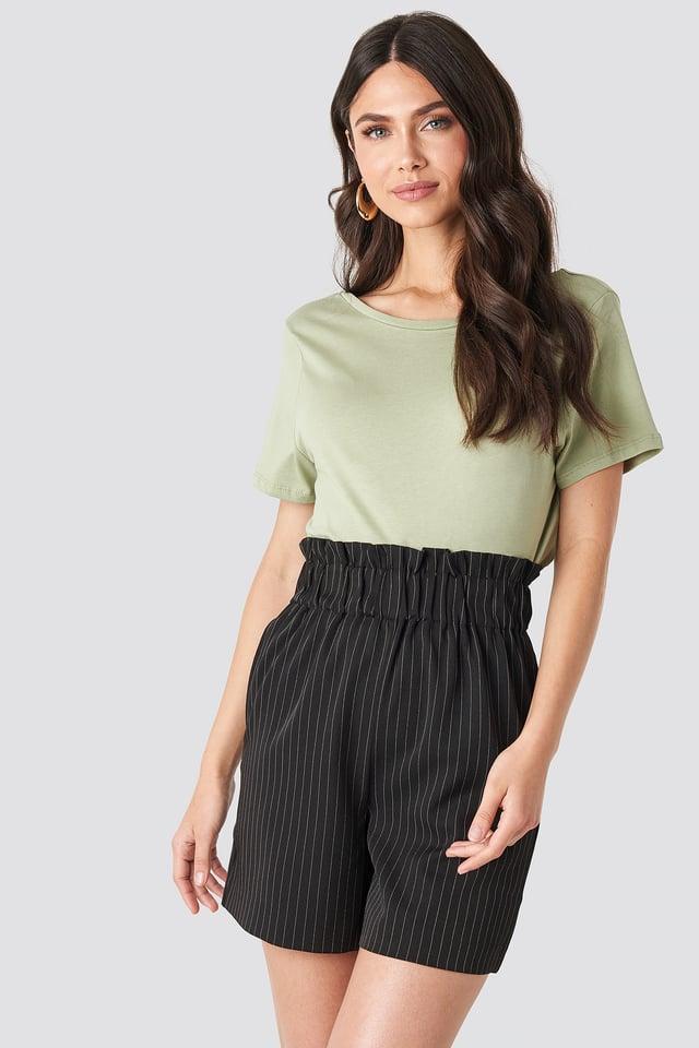 Black/White Stripe Gathered Shorts