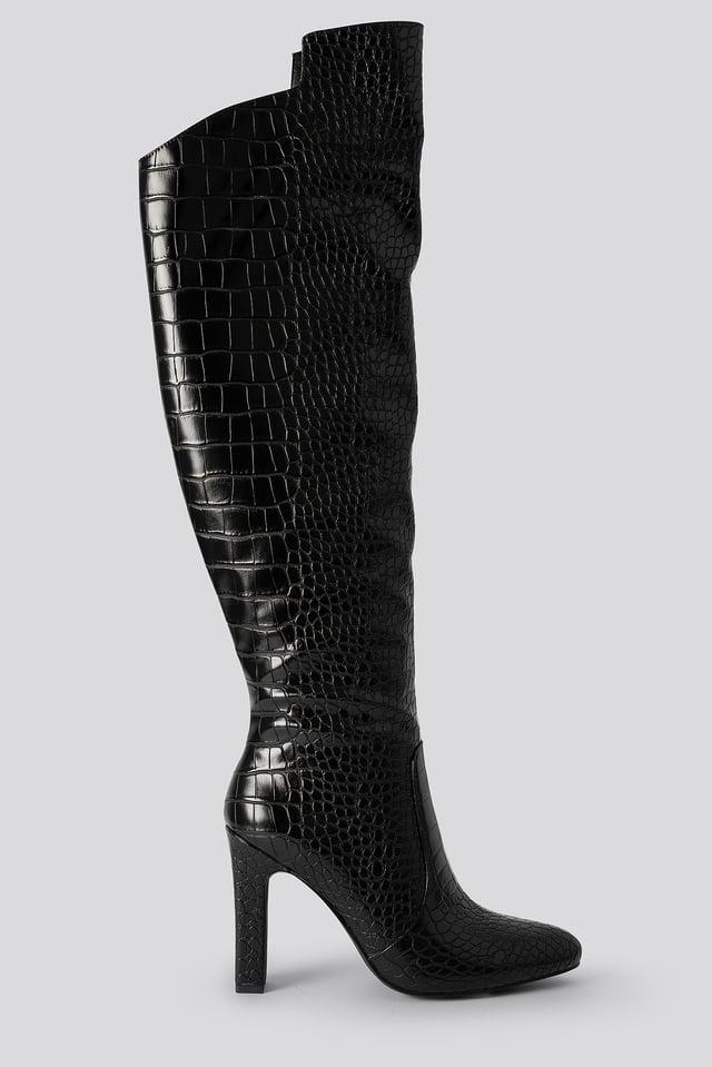Glossy Reptile Overknee Boots Black
