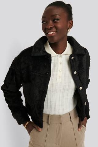 Black Hairy Faux Fur Jacket
