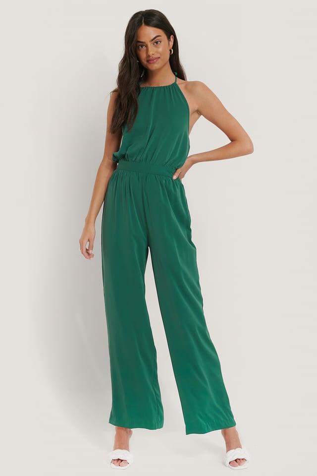 Green Combinaison Pantalon Dos Nu