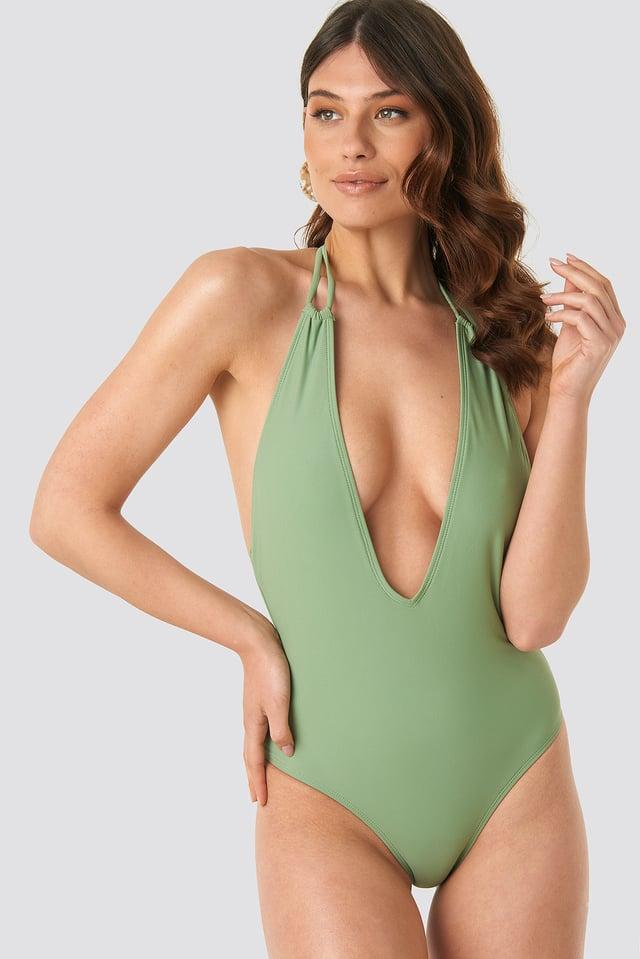 Pale Khaki Halterneck Plunge Swimsuit