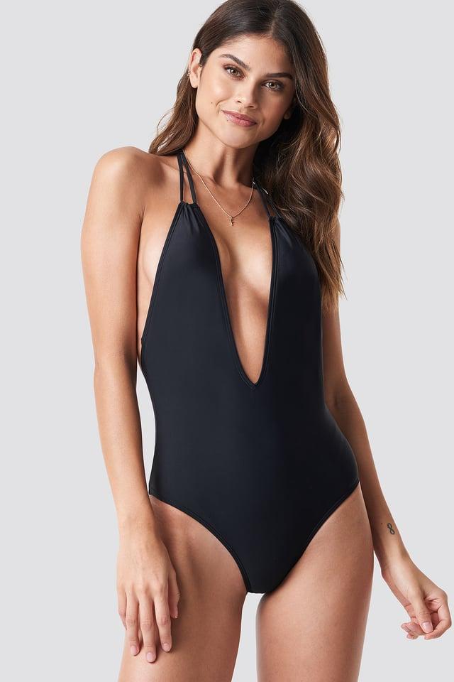 Black Halterneck Plunge Swimsuit
