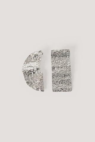 Silver Boucles D'Oreilles Asymétriques Martelées