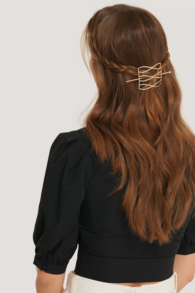 Gold Épingle À Cheveux Ondulée Martelée