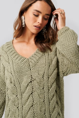 Khaki Wool Blend V-Neck Heavy Knitted Cable Sweater
