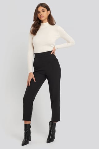 Black High Waist Cropped Suit Pants