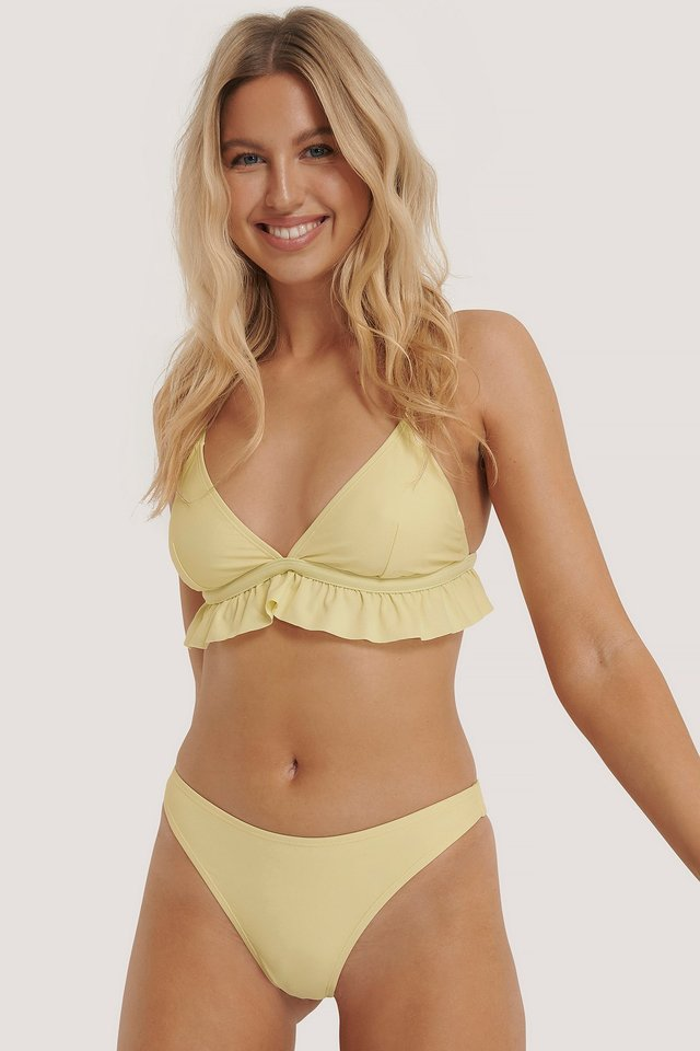 Yellow Culotte De Bikini Taille Échancrée