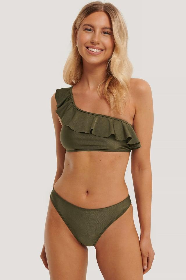 Culotte De Bikini Taille Échancrée Khaki