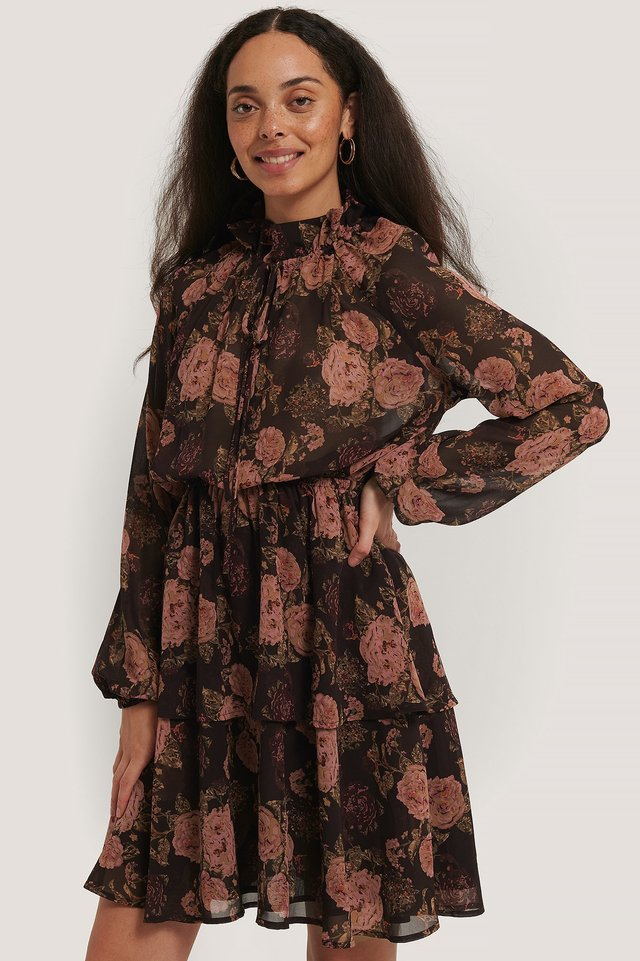High Frill Neck Dress Brown/Pink Flowers