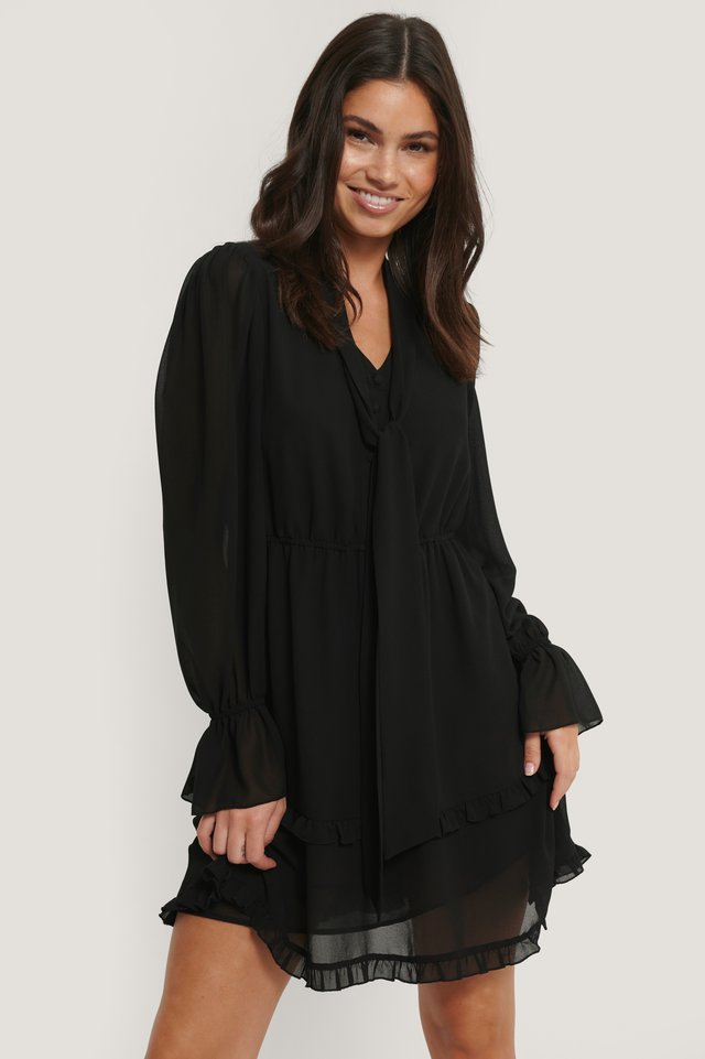 Robe Col Haut Black