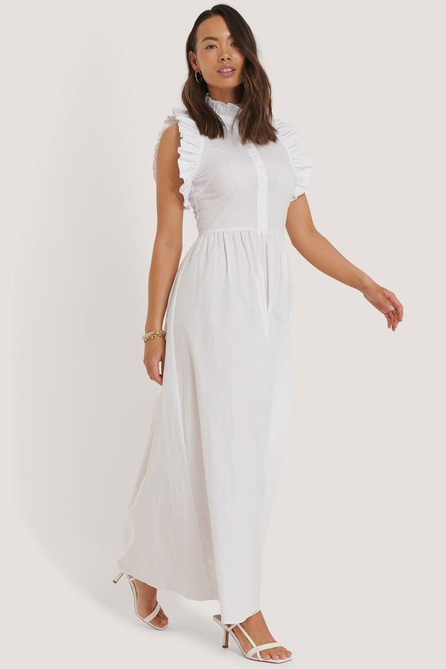 White Robe À Détails À Col Haut