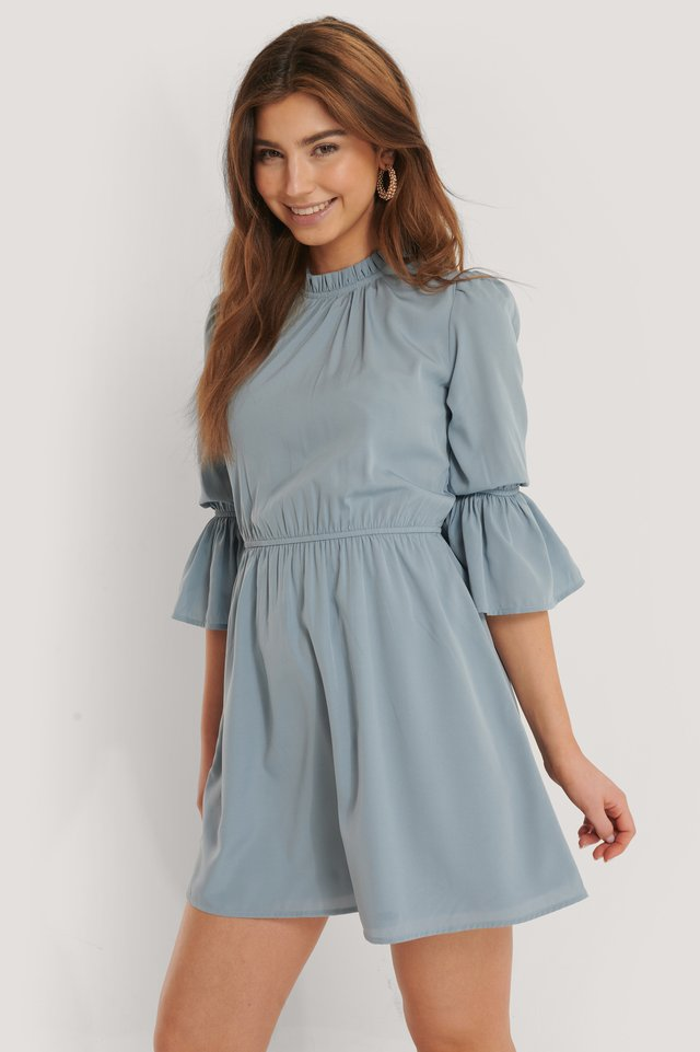 Mini Robe À Haut Volant Dusty Blue