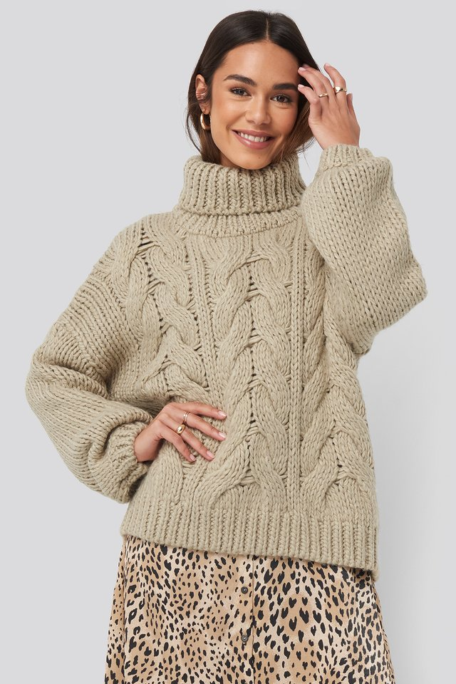 Wool Blend High Neck Heavy Cable Knitted Sweater Beige