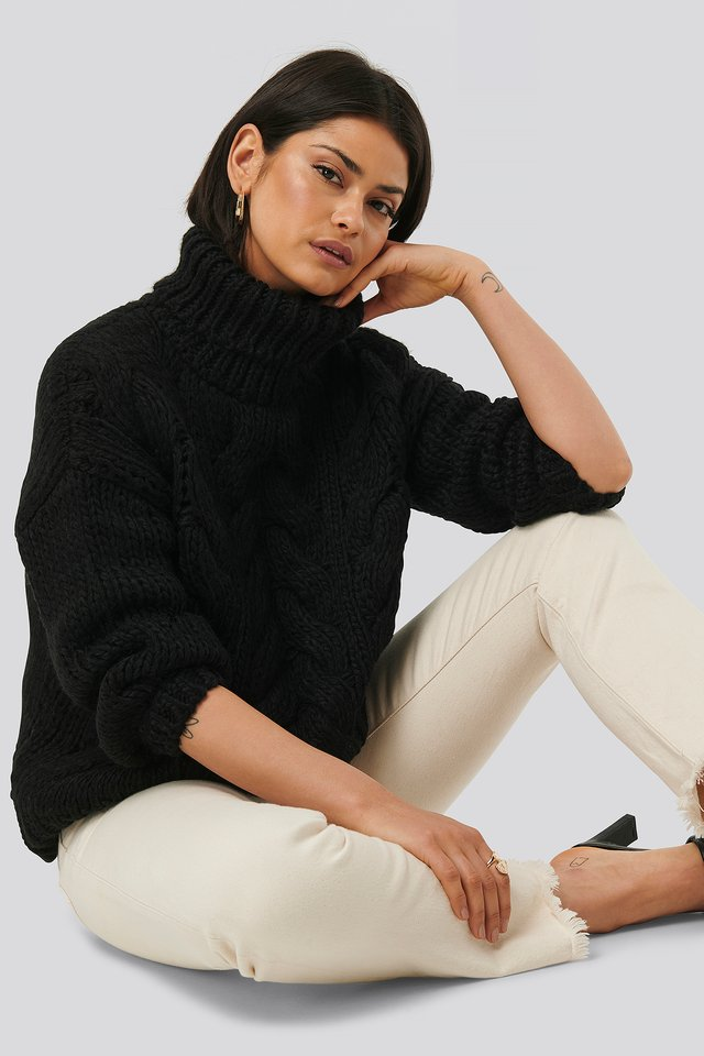 Black Wool Blend High Neck Heavy Cable Knitted Sweater