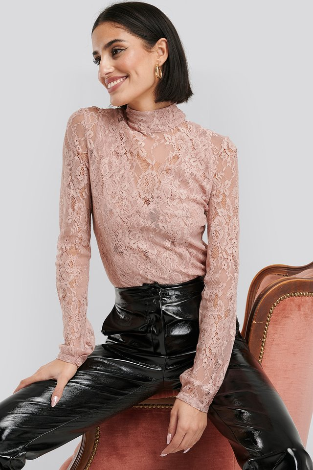 High Neck Lace Top Dusty Pink