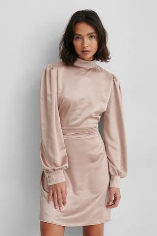 Dusty Dark Pink Robe Satin Col Haut